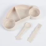 купить Детская бамбуковая посуда 2 в 1 Машинка (Бежевый) цена, отзывы
