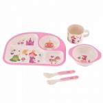 купить Детская бамбуковая посуда 3 в 1 Принцесса (розовый) цена, отзывы