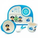 купить Детская бамбуковая посуда 3 в 1 Пират (голубой) цена, отзывы