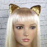 купить Ушки кошки на ободке с паетками (золото) цена, отзывы