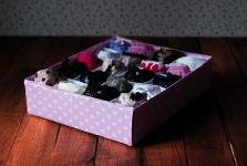 фото 7869  Комплект органайзеров из 3 шт розовый в белый горошек цена, отзывы