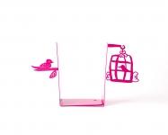 фото 10007  Держатель для книг Клетка с птицами темно-розовая цена, отзывы