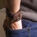фото 9447  Кожаный браслет для пар коричневый цена, отзывы