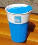 фото 8286  Керамическая чашка с крышкой голубая VIA STARBUCKS цена, отзывы