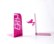 фото 10006  Держатель для книг Клетка с птицами темно-розовая цена, отзывы