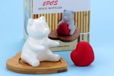 фото 4729  Солонка с бамбуковой подставкой мышка с сердечком цена, отзывы