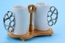 фото 6553  Чашка-кастет с бамбуковой подставкой 300мл цена, отзывы