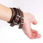 фото 9445  Кожаный браслет для пар коричневый цена, отзывы