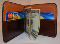 фото 1569  Зажим для денег с кармашеком для мелочи натуральная кожа №3 цена, отзывы