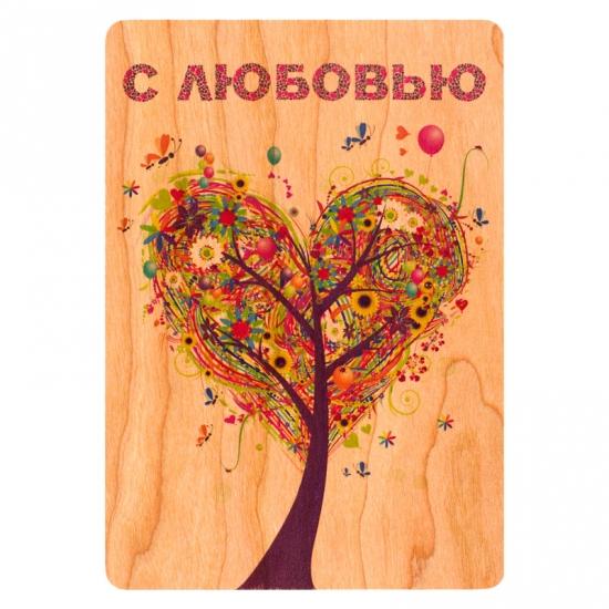 купить Деревянная открытка Дерево - сердце цена, отзывы
