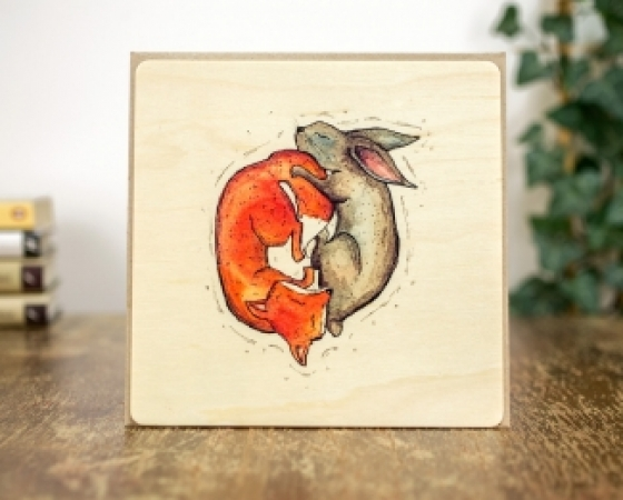 купить Деревянная открытка Инь и ян цена, отзывы