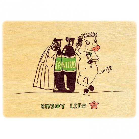 купить Деревянная открытка кабанчик цена, отзывы
