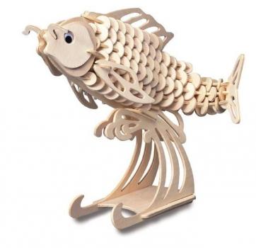 купить Деревянный пазл рыба Карп цена, отзывы