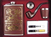 купить Фляга - подарочный набор кожа с золотом 4 вида цена, отзывы