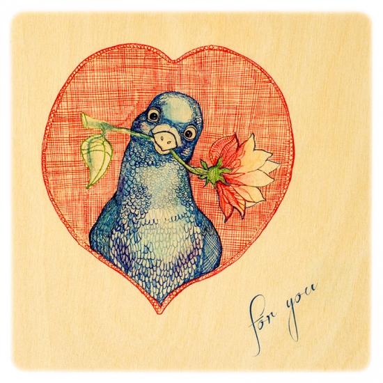 купить Деревянная открытка Голубь мира цена, отзывы
