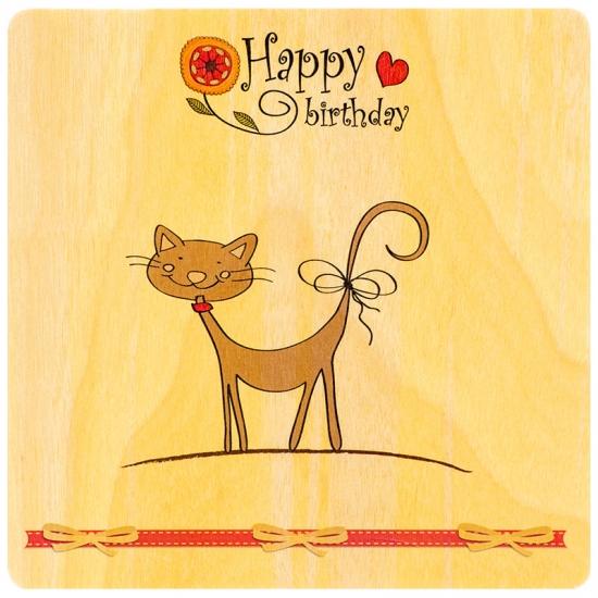 купить Деревянная открытка Happy Birthday Cat цена, отзывы