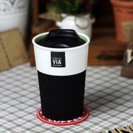 купить Керамическая чашка с крышкой и съемным чехлом VIA. STARBUCKS  цена, отзывы