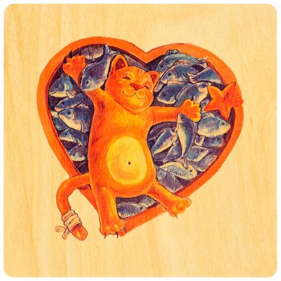 купить Деревянная открытка Кот в рыбе цена, отзывы