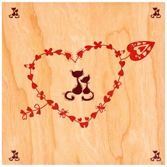 купить Деревянная открытка Котенок любит тебя всегда цена, отзывы