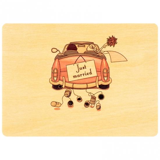 купить Деревянная открытка Молодожены в машине цена, отзывы