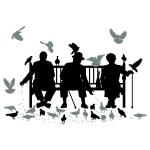 купить Наклейка Декоративная Trio on the Bench цена, отзывы