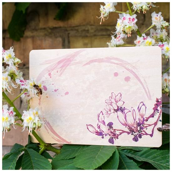 купить Открытка на дереве Цветы сакуры цена, отзывы