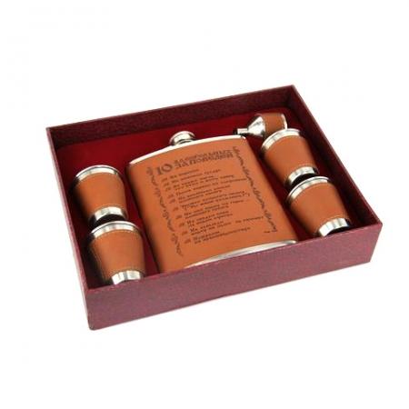 купить Подарочный набор Фляга 10 алкогольных заповедей цена, отзывы