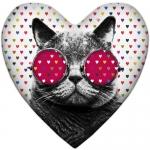 купить Подушка-сердце кот цена, отзывы