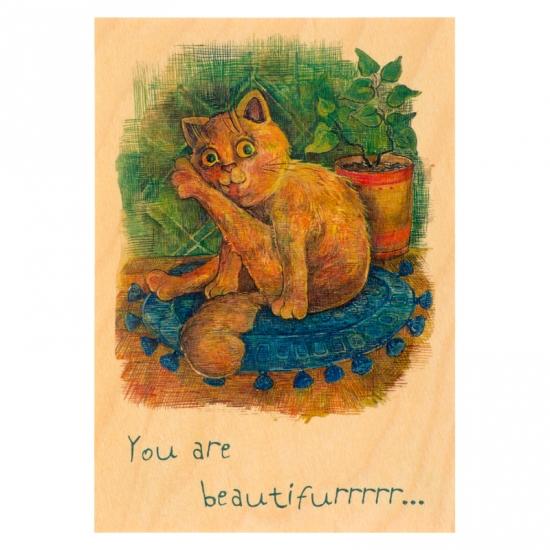 купить Деревянная открытка Рыжий кот цена, отзывы