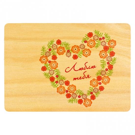 купить Деревяная открытка Сердце из цветов цена, отзывы