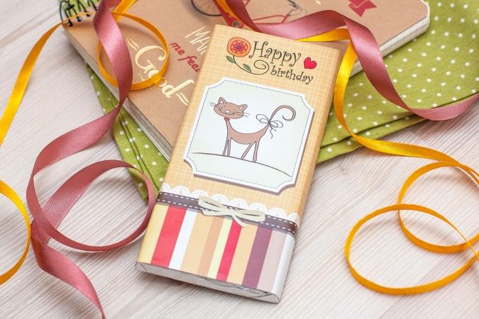 купить Шоколадная плитка Happy Birthday cat цена, отзывы