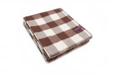 фото 6670  Плед коричнево-белый с кожаным ремешком цена, отзывы