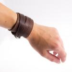 фото 9452  Браслет кожаный с двумя пряжками коричневый цена, отзывы