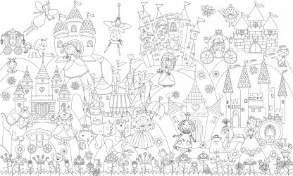 купить Обои раскраска - Принцессы в сказочном королевстве 1.0х0.6м цена, отзывы