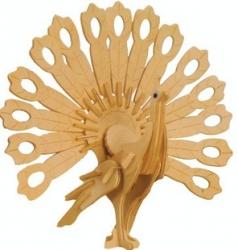 купить Сборная деревянная модель Павлин(3D пазл) цена, отзывы