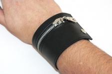 фото 9459  Кожаный браслет Zipper цена, отзывы