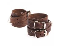 фото 9454  Браслет кожаный с двумя пряжками коричневый цена, отзывы
