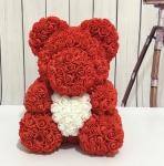фото 25413  Мишка из роз Teddy Bear 40 см красный с белым сердцем цена, отзывы