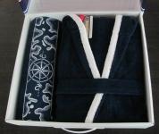фото 1698  Халат Altinbasak Pasific мужской синий (+полотенце) цена, отзывы