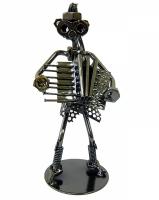 Техно арт дама с баяном металл 18,5Х8Х7,5 см