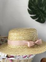 Соломенная шляпа канотье бежевая лента