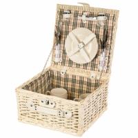 Набор для пикника на 2 персоны в квадратной корзине
