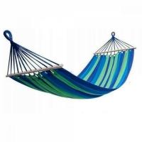 Гамак хлопковый с планкой в чехле 80 х 200см (зелено-синий)