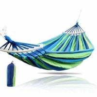Гамак хлопковый с планкой в чехле 100 х 200см (зелено-синий)