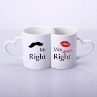 Фото Парные чашки для влюбленных в виде сердца mr&mrs always right