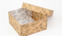 Подарочная коробка Цветы 20х20х10 см (Крафт)