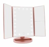 Зеркало косметическое тройное с LED подсветкой (Розовый)