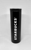 Термокружка матовая тамблер Starbucks (реплика) 473мл (Black-Silver)
