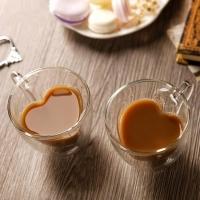 Набор чашек для кофе с двойным дном Сердце 250 мл (2 шт)