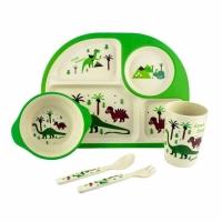 Фото Детская бамбуковая посуда 3 в 1 Динозавры (зеленый)